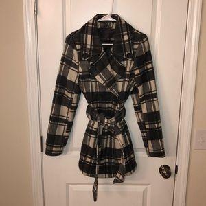 NWOT - Jou Jou gray and white plaid pea coat
